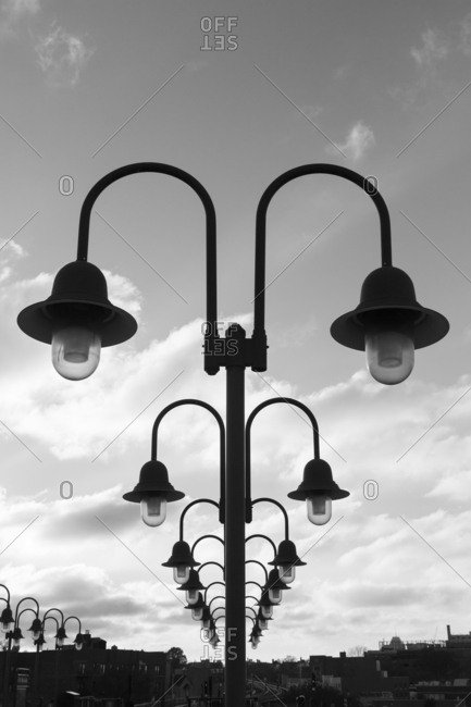 Queens, New York - November 19, 2016: Lights at a train station in Queens, New York