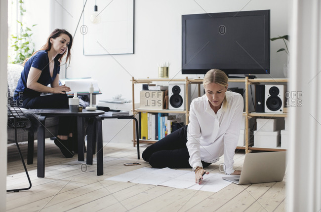 Female colleagues working in home office