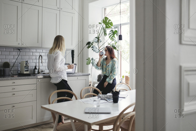 Female coworkers having drinks while working in kitchen at home