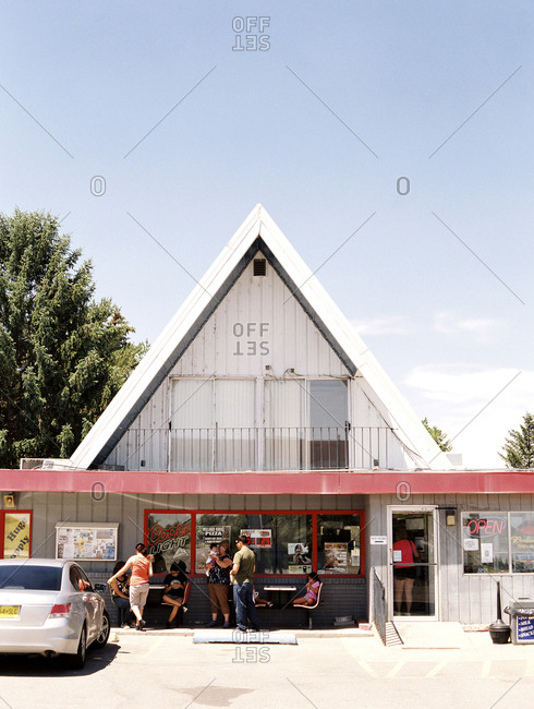 Rupert, Idaho - August 5, 2014: People gathered outside small store