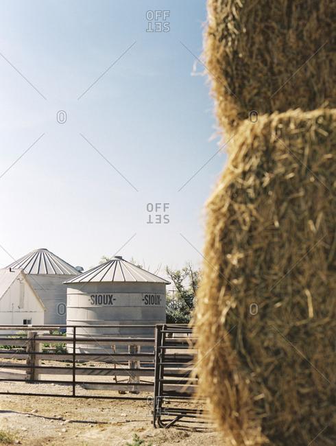 Rupert, Idaho - August 5, 2014: Sioux steel bins on farm