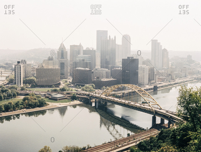 Pittsburgh, PA - December 15, 2017: Skyline from above