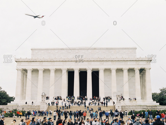 Washington, DC - December 15, 2017: Tourists at Lincoln Memorial