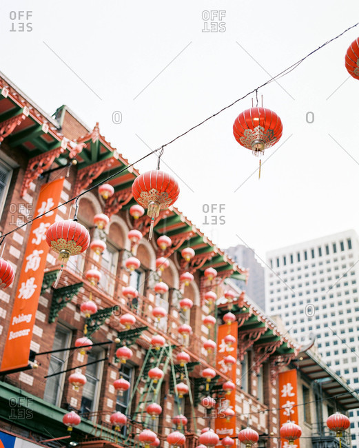 San Francisco, CA, USA - January 19, 2016: Lanterns hanging over Chinatown street