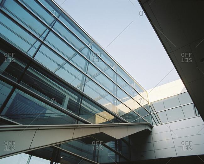 Penn State University, Pennsylvania - December 15, 2017: Glass wall building section