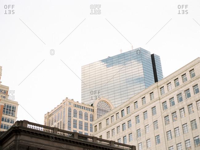 Close up building tops of a city skyline