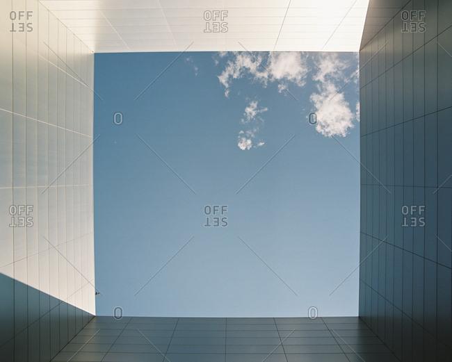 Open sky view of contemporary building exterior