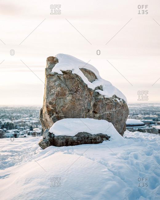 Snowy rock formation
