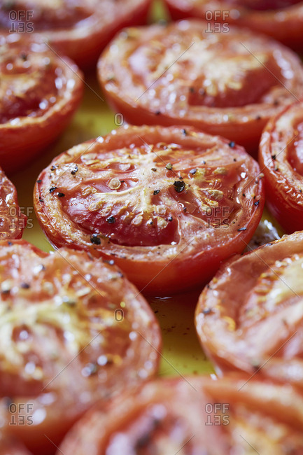 Cooked tomatoes in olive oil