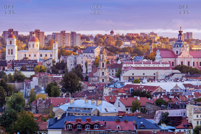 Vilnius, Lithuania, Cityscape at sunrise