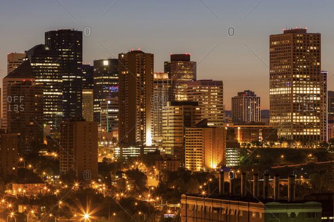 Canada, Alberta, Edmonton, Financial district at dusk