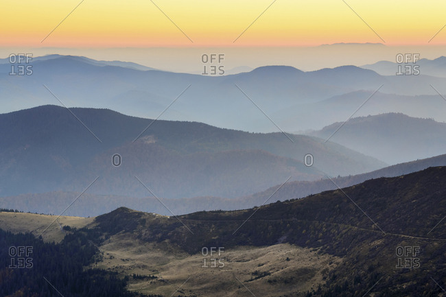 Ukraine, Zakarpattia region, Rakhiv district, Carpathians, Chornohora, Mountain landscape with mist