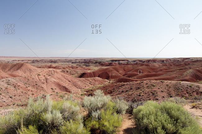 USA, Arizona, Painted Desert National Park, Blue sky over mountain range