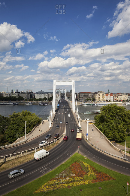 Budapest, Hungary - July 5, 2017: Hungary- Budapest- cityscape with Elisabeth Bridge over Danube river