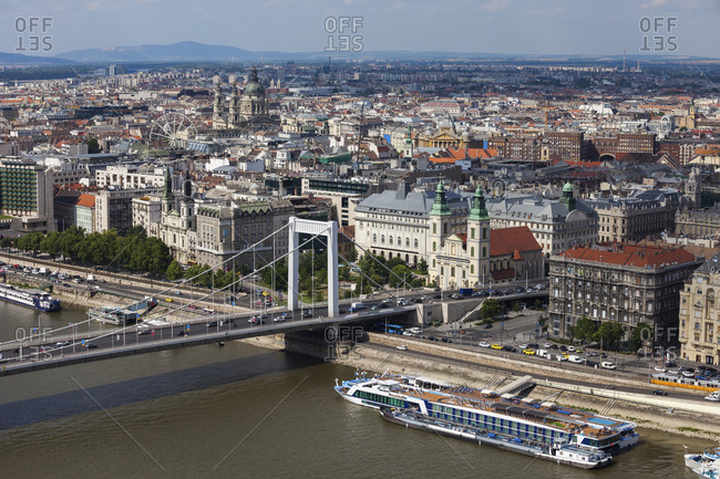 Hungary- Budapest- cityscape of Pest Side- Danube river waterfront with Elisabeth Bridge