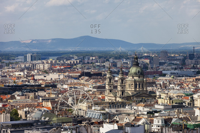 Hungary- Budapest- cityscape with St. Stephen's Basilica and Ferris Wheel