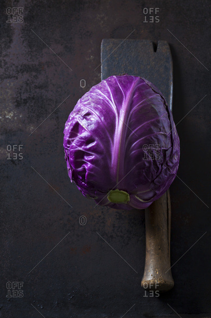 Purple Sweetheart Cabbage and cleaver on dark ground