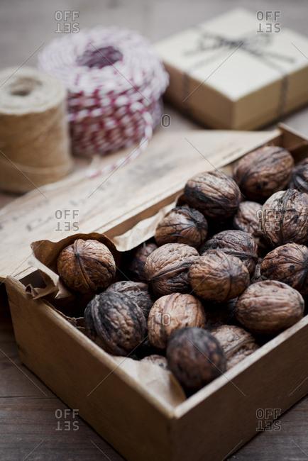 Wooden box of organic walnuts