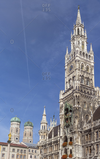 Germany- Bavaria- Munich- Marian column and Frauenkirche and new town hall