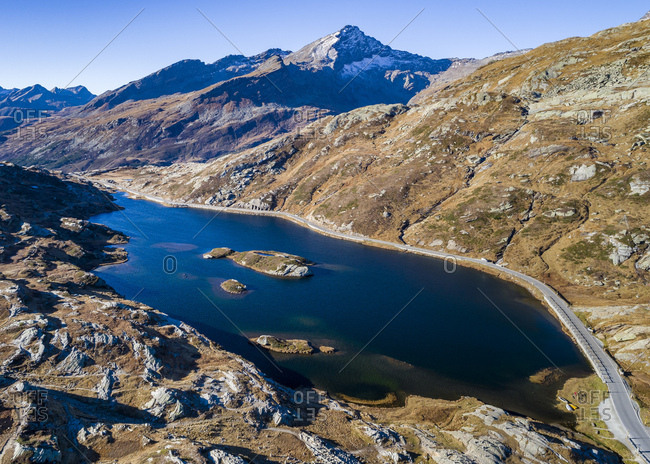 Switzerland- Canton of Graubuenden- Swiss Alps- San Bernardino Pass- Passo del San Bernardino and lake