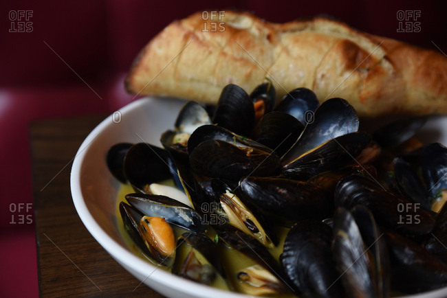 Simple dish of mussels with home made bread