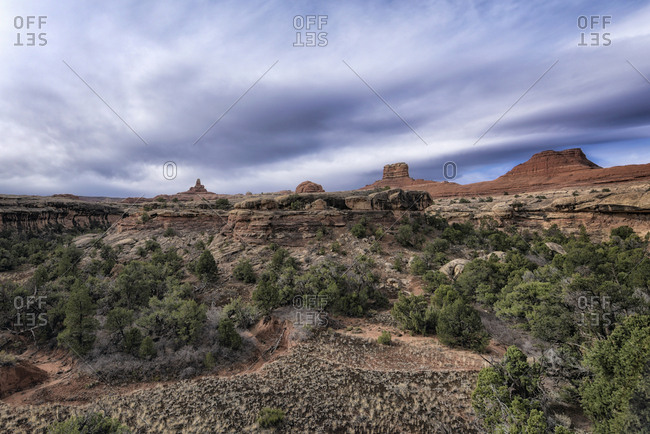 Clouds over desert in Moab, Utah, United States