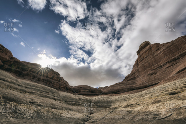 Clouds over canyon in Moab, Utah, United States