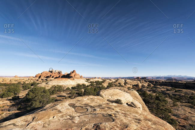 Blue sky over rocks in desert, Moab, Utah, United States