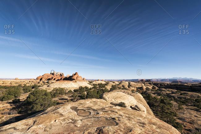 Blue sky over rocks in desert, Moab, Utah, United States