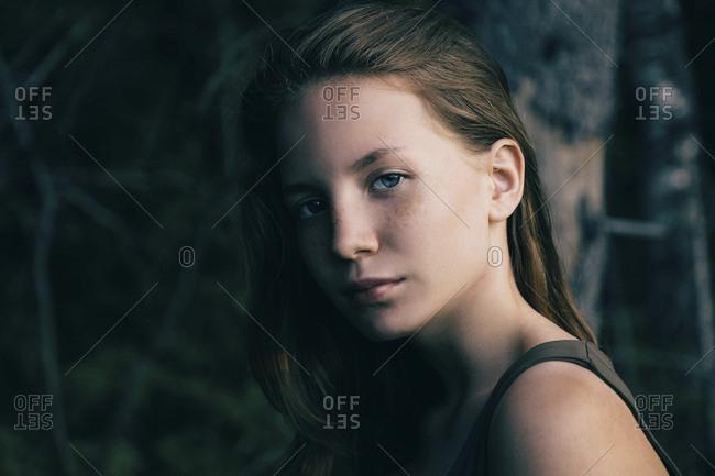 Portrait of serious Caucasian teenage girl
