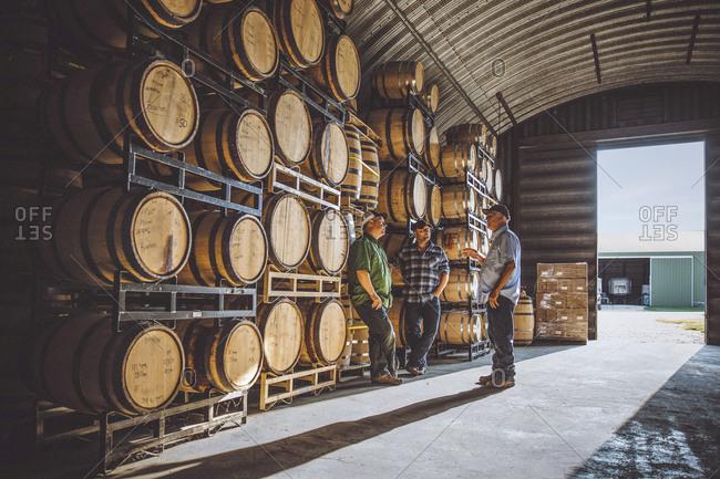 Caucasian men talking near barrels in distillery