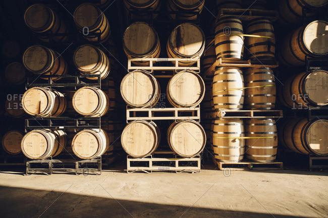 Barrels in distillery