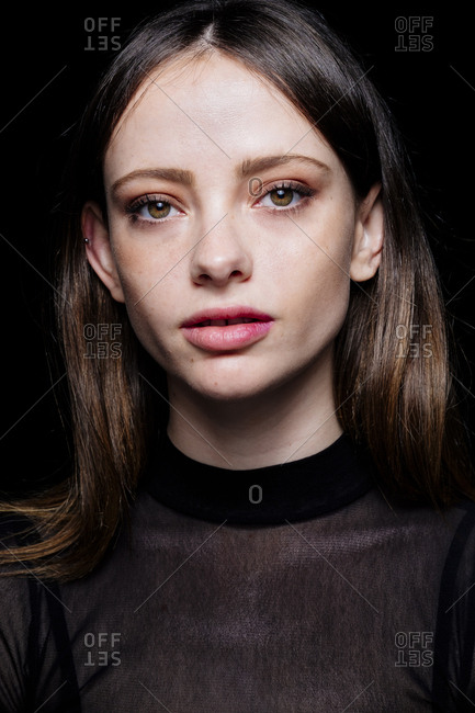 Portrait of serious Caucasian woman