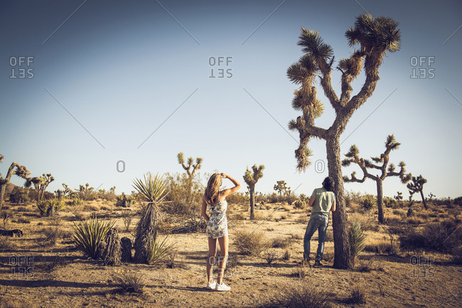 Hispanic couple in remote desert