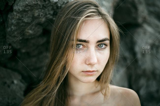 Close up of serious Caucasian woman