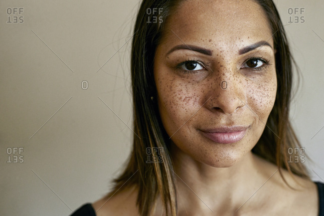 Close up of smiling mixed race woman