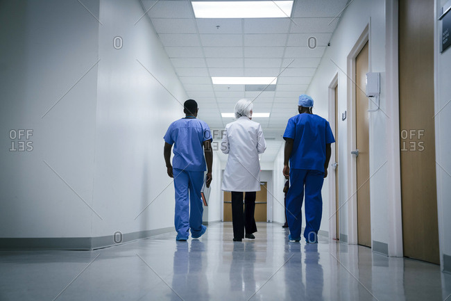 Doctor and nurses walking in hospital