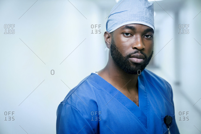 Portrait of serious black nurse