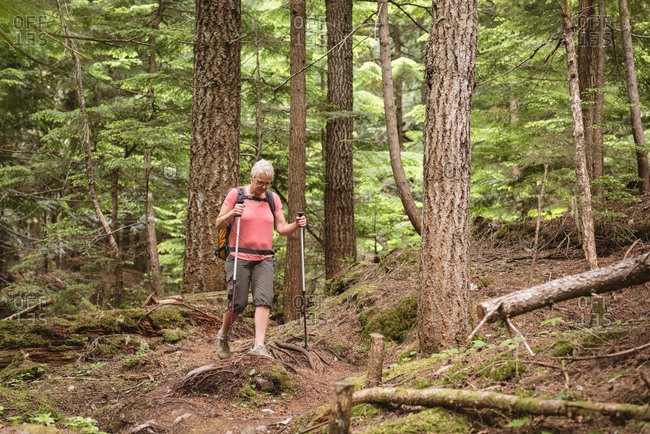 Mature woman walking with hiking poles in the forest