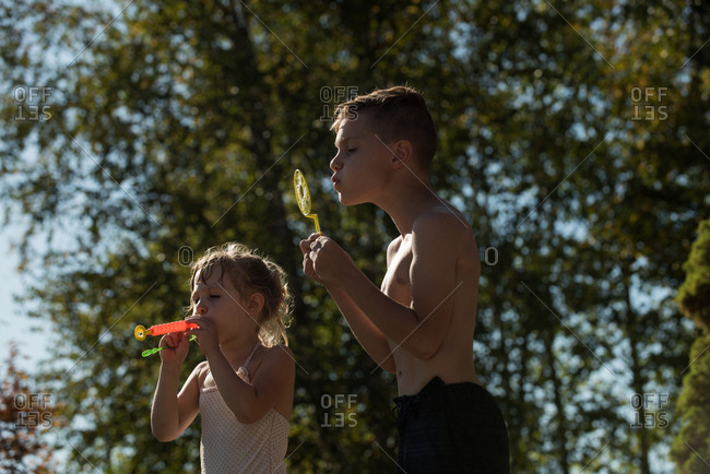 Sibling playing with bubble wand in park on sunny day