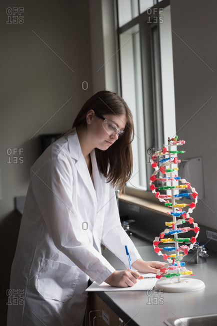 Teenage girl experimenting molecule model in laboratory