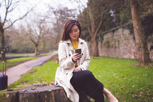 Businesswoman sitting on tree stump and using mobile phone in park