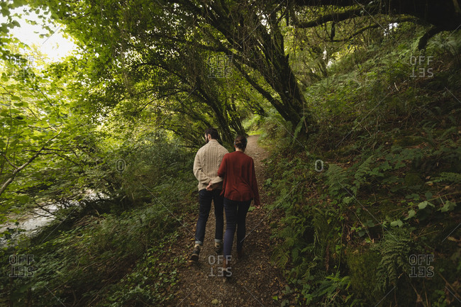 Rear view of couple walking on path