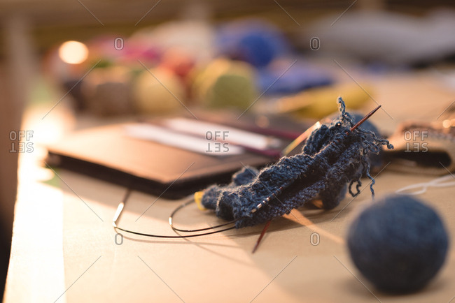 Close-up knitted wool on a table in tailor shop