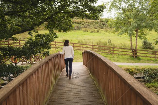 Rear view walking on footbridge on a sunny day