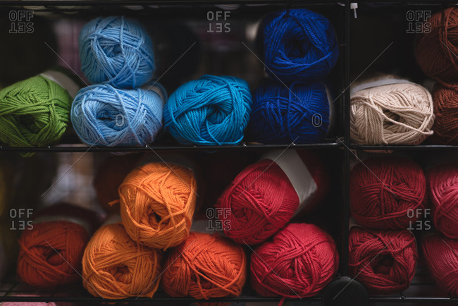 Close-up multicolored  ball of yarn