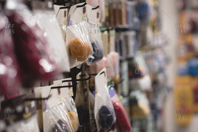 Close-up pack of woolen ball display in the shop