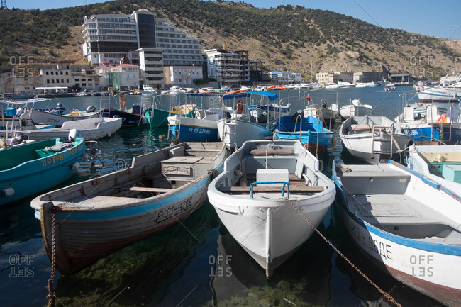 Yalta, Crimea, Ukraine - October 1, 2016: Wharf with docked boats