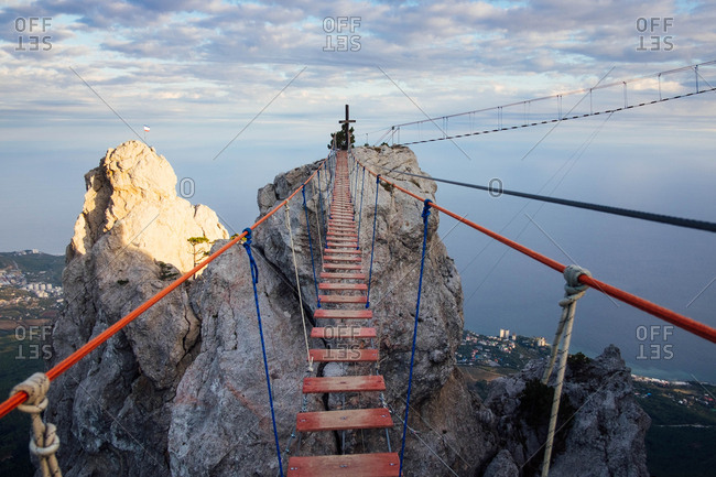 Crimea, Ukraine - October 6, 2016: Cross atop Ai-Petri mountain
