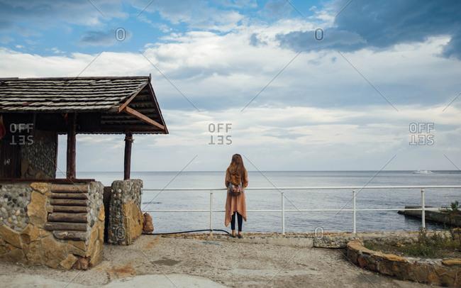 Tourist on the pier, Crimean peninsula